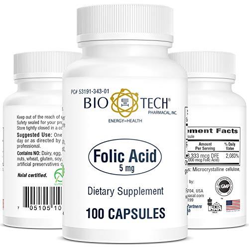 Folic Acid, Bio-Tech 5mg, 100 Capsules, Tiny Soft and Easy to Swallow