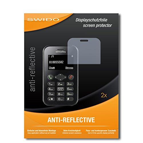 SWIDO Schutzfolie für Simvalley Mobile Pico RX-484 [2 Stück] Anti-Reflex MATT Entspiegelnd, Hoher Festigkeitgrad, Schutz vor Kratzer/Bildschirmschutz, Bildschirmschutzfolie, Panzerglas-Folie
