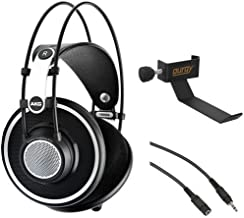AKG K 702 Reference-Quality Open-Back Circumaural Headphones with Clamp On Headphone Holder and Stereo Mini Male to Stereo Mini Female Extension Cable 25'