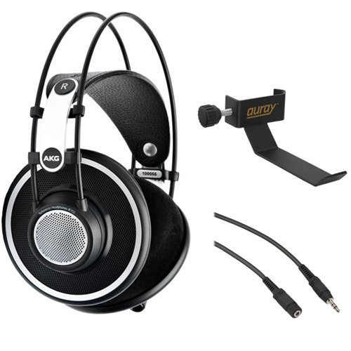 AKG K702 레퍼런스 헤드폰 AKG K 702 Reference-Quality Open-Back Circumaural Headphones with Clamp On Headphone Holder and Stereo Mini Male to Stereo Mini Female Extension Cable 25