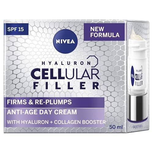 NIVEA Cellular Filler Anti Ageing Day Face Cream SPF15 (50ml), Face Moisturiser with Hyaluronic Acid & Collagen Booster for Mature Skin