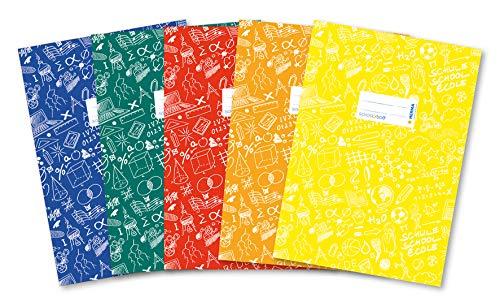 HERMA 20211 Heftumschläge DIN A4 SCHOOLYDOO, Hefthüllen mit Beschriftungsetikett, aus strapazierfähiger und abwischbarer Polypropylen-Folie, 5er Set Heftschoner für Schulhefte, bunt