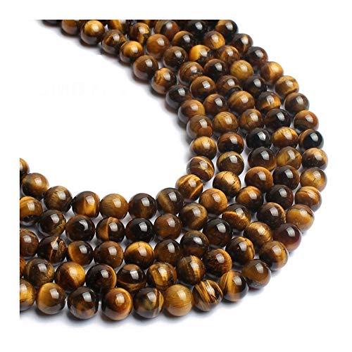 YUXIN Zhaochen 4-12MM Natural Amarillo Tigre Flojo De Los Granos Redondos Piedra De Ojo For La Costura Haciendo Collar De La Pulsera 15 Pulgadas (Size : 6mm Approx 61 63pcs)