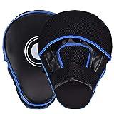Queta Paos de Boxeo para Kick Boxing Muay Thai MMA-Almohadillas Entrenamiento-Manoplas de Boxeo 2pcs (Negro-Azul)