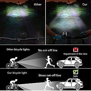 Luz de Bicicleta, Luz Bicicleta Recargable USB, IPX5 Impermeable Lámpara Bicicleta, Luz Bicicleta Set, Luces Bicicleta Delantera y Trasera Kit, Luz de LED Bicicleta Inteligente para Ciclismo Seguridad