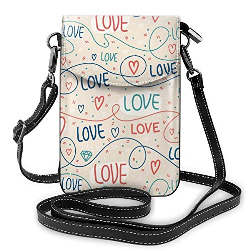 CUSZAT Pattern With Lines, Hearts And Letters Functional Multi Crossbody Cell Phone Passport Purse