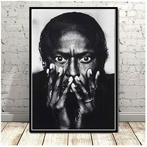 ad Miles Davis Poster Art von Blue Jazz Musikalbum Poster Wandkunst Bild Poster und Drucke Leinwand Malerei für Raum Wohnkultur -50x70cmx1pcs - No Frame