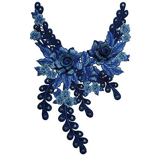 Zhouba Blumen- und Pfauenstickerei für den Halsausschnitt, zum Nähen, für Kleidung, Kleider, Dunkelblau