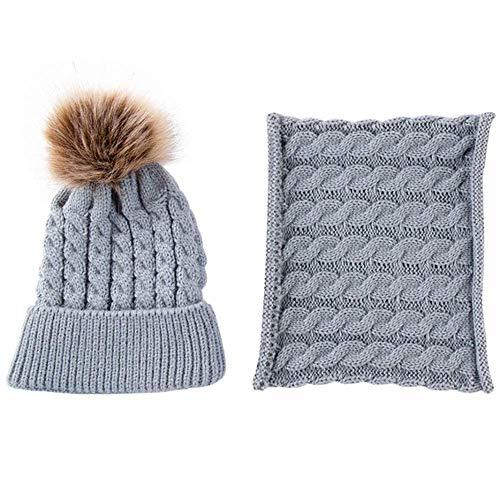 Gorro de punto para bebé con gorro de invierno cálido con círculo lazo bufanda cuello calentador