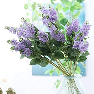 Skyseen 5Pcs Artificial Delphinium Flowers Lavender Flowers Plants Wedding Home Décor
