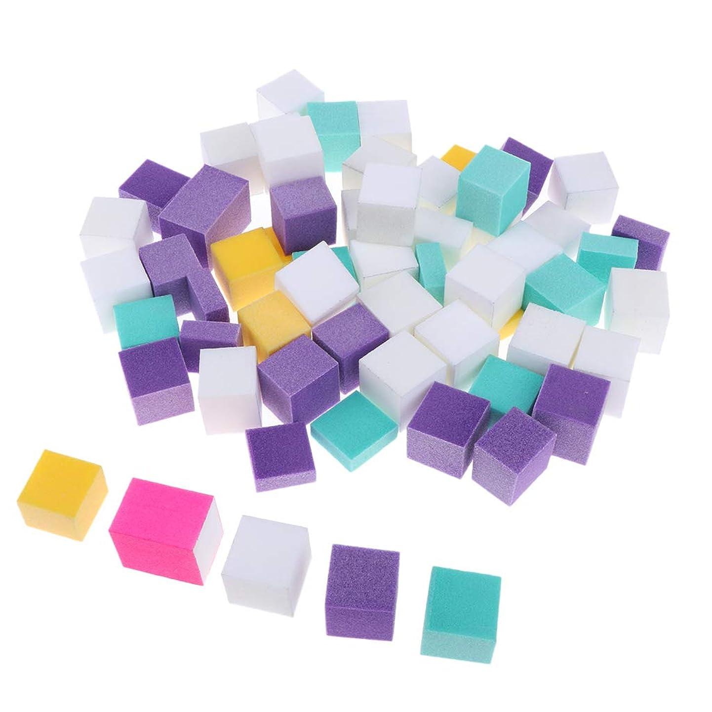 調和のとれた単に深さPerfeclan ネイルファイル スポンジ マニキュアバフ 正方形 ポリッシュ 多色 ジェルネイル用 約60個セット