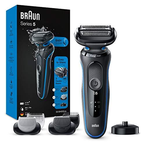 Braun Series 5 50-B4650cs Rasoio Elettrico Barba Con Base Di Ricarica, Regolabarba Uomo, Rifinitore Corpo, Wet&Dry, Ricaricabile, Senza Fili, Blu