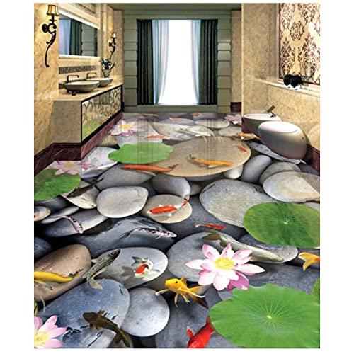 Wssmsy Rollos de Vinilo Adhesivo Piso 3D decoración del hogar Azulejos de Piso 3D Fondo Pared espino Flor Carpa PiedraCualquier Piso de habitación-200x140cm/79x55in