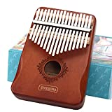 Kalimba Thumb Piano 17 Keys, Portable Mbira Finger Piano, Easy to Learn Musical Instrument Gift for Kids and Adult Beginners, Brown