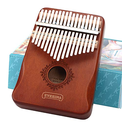 Kalimba Thumb Piano 17 Keys Portable Mbira Finger Piano Easy to Learn Musical Instrument Gift for Kids and Adult Beginners Brown