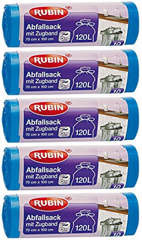 Rubin Bolsas de basura con cordón de 120 litros (50 unidades), para el hogar y la oficina, resistentes al desgarro y a los líquidos, pack de 5 (5 x 10 unidades), reciclables, especialmente pequeñas