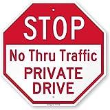 SmartSign 'Stop - No Thru Traffic, Private Drive' Sign | 18' x 18' Aluminum