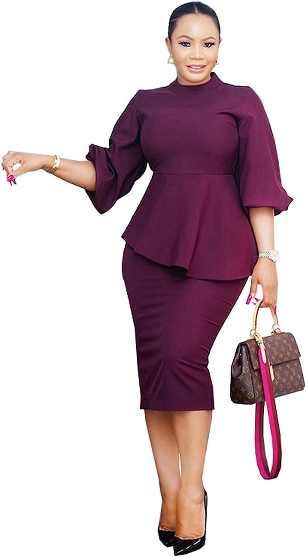 Ekaliy Women's Ruffle Sleeve Vintage Bodycon Peplum Business Formal Work Pencil Dress