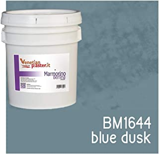 FirmoLux Marmorino Berlina Venetian Plaster | Smooth Plaster | Made in Italy from Lime, Marble & Other Natural Aggregates | Blue-Gray Colors (12) | Color: BM1644 Blue Dusk