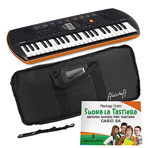 Kit Pianola Tastiera Casio SA 76 (Fondo arancione) con Borsa ffalstaff con tracolla e Metodo'Suona la Tastiera'