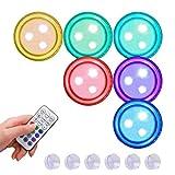 YDLYA 6 Piezas Luces subacuáticas luz LED Mini luz RGB iluminación de Estanque Multicolor Luces de té Impermeables para florero de Acuario casa de Piscina de baño