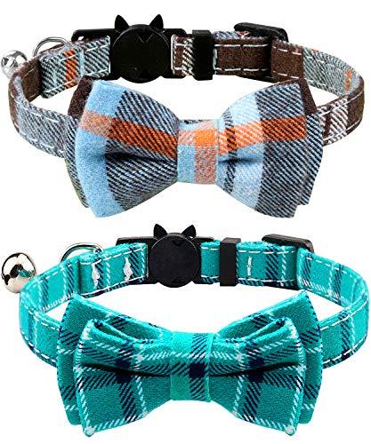 Joytale Collar para Gato con Pajarita & Cascabel, Collares Cierre Seguridad para Gatos, Neblina Azul + Verde Azulado