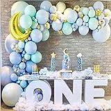 MEETGG - Juego de globos de cadena de 5 puntas de estrella de plata para cumpleaños, bodas, vacaciones, globos de estilo noble, color azul