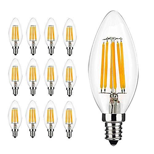 E14 Lampadine a filamento LED, forma candela a colpo di vento 6 Watt 600LM / 60W Equivalente a incandescenza, C35 Piccole lampadine a vite Edison, Luce bianca calda 2700K, 12-Pack