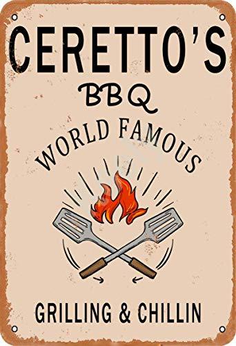 Keely Ceretto'S BBQ World Famous Grilling & Chillin Decorazione da Parete in Metallo Vintage con targhetta in Metallo 12x8 Pollici per Bar, ristoranti, Pub, Uomo, Grotta Decorativa