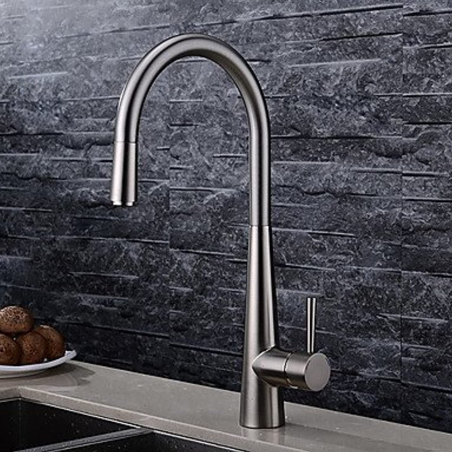Mangeoo Kitchen Faucet - One Hole Brushed Pull-Out   -Pull-Down Deck Mounted Contemporary Brass Single Handle One Hole