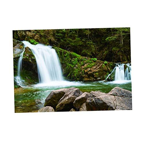 SM SunniMix 3D Druck Aufkleber Aquarium Hintergrund Rückwandfolie - Wasserfall im Wald, 122 x 46 cm