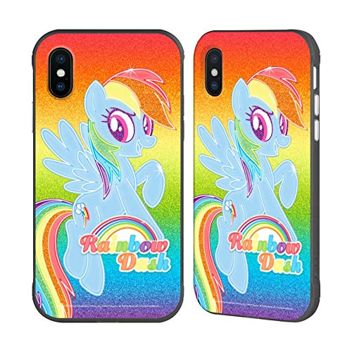 Head Case Designs Officially Licensed My Little Pony Rainbow Dash Rainbow Vibes Black Fender Case Compatible with Apple iPhone X/iPhone Xs
