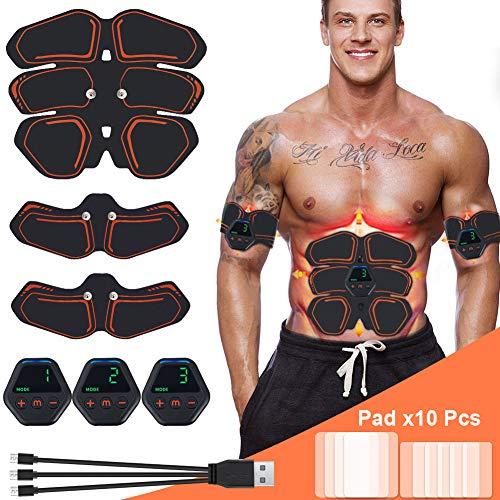 Hieha EMS Trainingsgerät USB Wiederaufladbar Elektrische Muskelstimulator 10 Modi 20 Intensitäten EMS Training für Arm Bauch Beine Bizeps Sehr gut geeignet für Muskelaufbau und Fettverbrennung