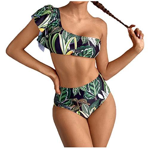 YANFANG Bikini de Traje de baño Dividido de Cintura Alta con Volantes y Estampado de Hojas Sexy a la Moda para Mujer