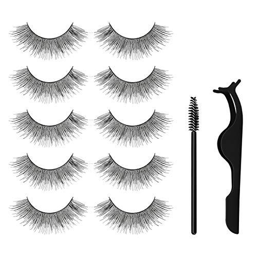 False Eyelashes, 3D Flexible False Lashes, 5 Pairs Natural Looking Reusable Eye Lashes for Makeup with Eyelashes Clip and 10 Pcs Disposable Eyelash Brushes