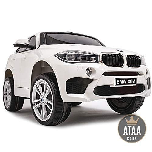 ATAA BMW X6M batería12v - Blanco -Coche electrico para niños Grandes Dimensiones con livencia Oficial BMW - Asiento de Piel, Ruedas de Goma, música