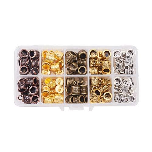 PandaHall Elite 100pcs 5 Colores Extremo Tapa Terminlaes de Cordón de Aleación con Agujero de 3mm para Hacer Pulseras Collares bisuteria Accesorios componentes de Joyas