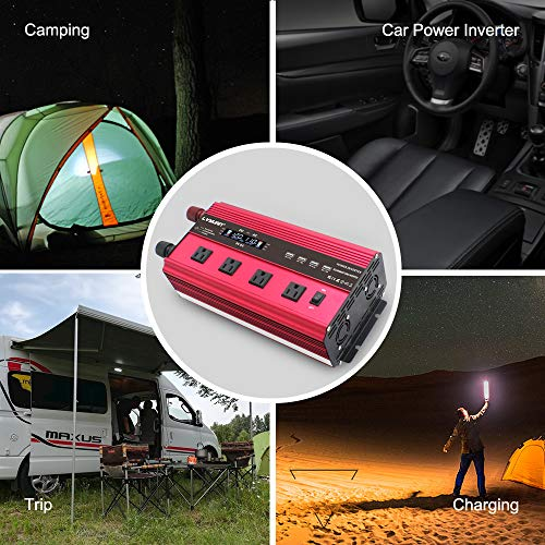 LVYUAN Power Inverter 2500W/5000W Inverter 12V to 110V Dc to AC DC 12V Inverter with Remote Control LCD Display 4 AC Sockets 4 USB Charge Ports 4 Cooling Fans