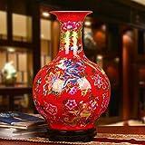 Q-HL Jarrones Jarrón Flores Floreros Rojos de Las Flores, jarrones Chinos Grandes de cerámica for el Suelo, Adornos for la Sala 56 * 36cm