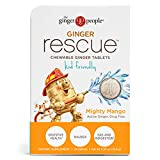 Ginger People The Ginger Rescue Chewable Ginger Tablets, Orange, Mighty Mango, 0.55 Oz , 24 Count