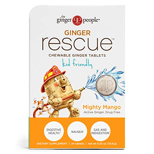Ginger Rescue - Chewable Ginger Tablets by The Ginger People for Motion Sickness, Nausea, Morning Sickness, Mighty Mango, 24 tabs, Kid Friendly, 5.5 Ounce