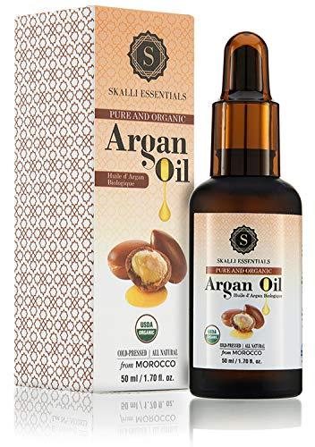 Skalli Essentials Organic Moroccan Argan Oil for Hair, Skin, Nails | Cuticle Oil, Face Moisturizer, Beard Oil, Damaged Hair Repair | Premium Grade Moroccan Oil (50 mL)