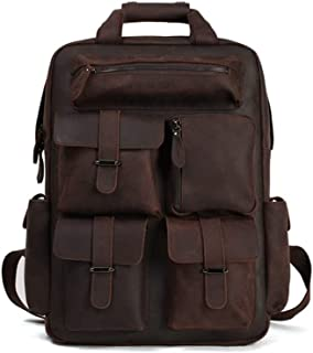 WENQU Leather Backpack Men's Leather Travel Bag Fashion Perfunctory Shopping Travel Backpack (Color : Brown, Size : S)