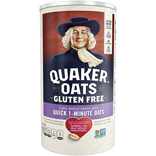 Quaker Gluten Free Quick 1-Minute Oats, Non GMO Project Verified,1.12 Pound (Pack of 12)