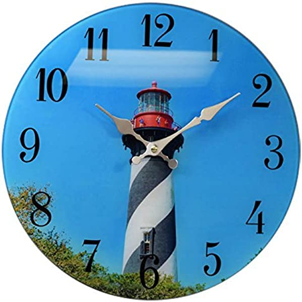 St Augustine Lighthouse Glass Wall Clock 13 X 13 Home Wall Decor Beach Coast New