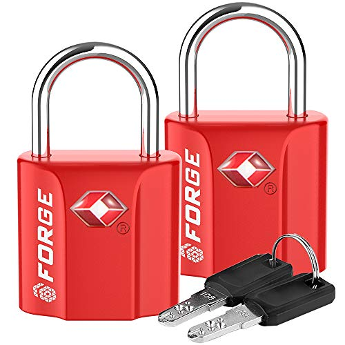 Red 2 Pack TSA Approved Luggage Locks Ultra-Secure Dimple Key Travel Locks with Zinc Alloy Body