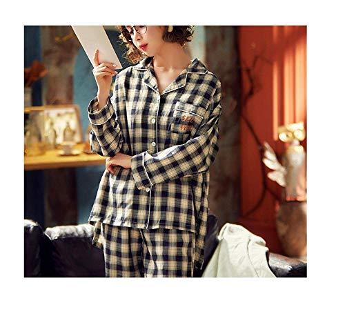 Katoenen pyjama met lange mouwen, dun tweedelig pak in voor- en najaar, geruite katoenen huiskleding
