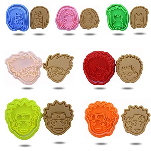 LVMMO Naruto Cookie Cutter Shapes with Handle Anime Nonstick Cookie Stamp Set for Kids Deluxe Cupcake Cake Toppers Party Favor Decoration and Holiday, 7 Pcs Random Color, Amazon Exclusive