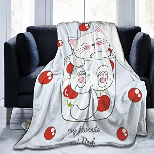 Manta de cóctel con diseño de gato kawaii en un cristal cereza, de franela de rosa, manta de cama de forro polar, cálida y esponjosa de microfibra para sofá de cama de 127 x 101 cm