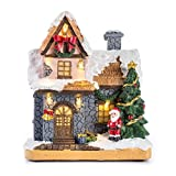 """Christmas scene snow white house village 6"""" House is nice ornament,Traditional hand painted finish It is Christmas decoration with Warm White led lights Battery operated,3x 1.5V AAA not included This charming ornament features a snow covered Houses w..."""